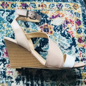 EXPRESS Pink and White Strappy Heeled Sandal